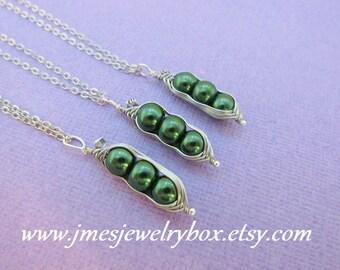 Three peas in a pod best friend necklace set - Dark green