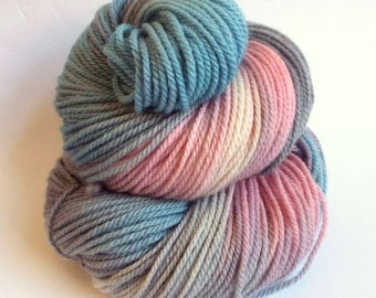 Sock yarn, double knit, merino yarn, hand dyed wool - 200 meters dusky pinks, greys and blues, pastel colours