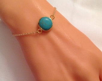 Natural Turquoise Bracelet, Gold Plated Bracelet, Blue Jewelry, Natural Stone, Christmas Sale, Birthday Gifts, Gift for Friends, Gift for He