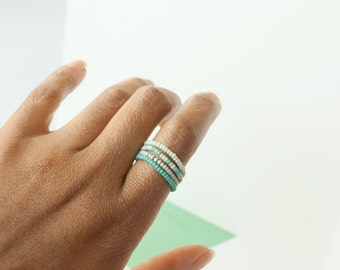 Turquoise Mint and Grey Seed Bead Stacking Ring Set of Four / Midi Rings - Handmade Jewelry - Boho Jewelry - Minimalist Jewelry