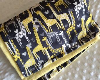Giraffe cotton print minky blanket