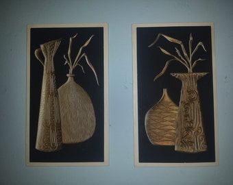 Awesome set of 2 MID CENTURY Wall #PLAQUES concave bottle design by Richter c 1959