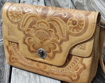 Vintage Hand Tooled Leather Shoulder Bag