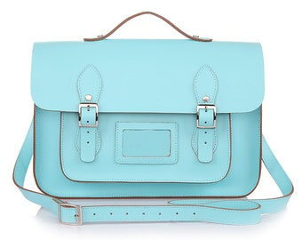 Large Wooster British Handmade Leather Satchel with Top Handle -  Pastel Sky Blue
