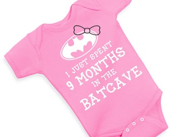 just spent 9 months in BATCAVE one piece cute funny adorable bodysuit baby shower baby GIRL girly