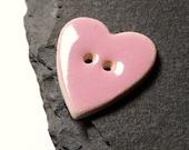 Pink Heart Shape Ceramic Button