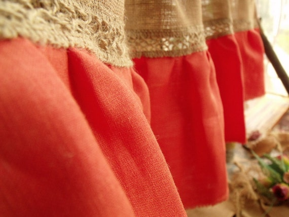 coral orange ruffle burlap lace valance window curtain linen. Black Bedroom Furniture Sets. Home Design Ideas