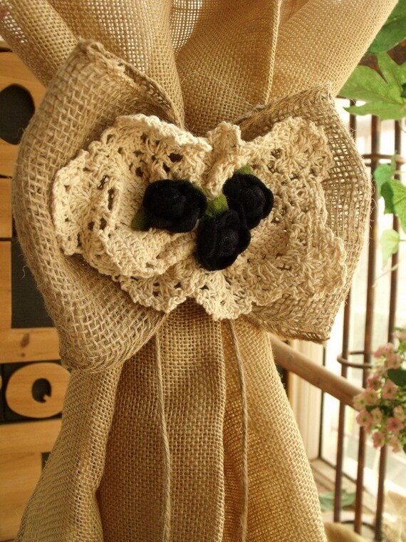Burlap Lace Bow Rustic Wedding Rose Pew Aisle Decor on chair Curtain ...