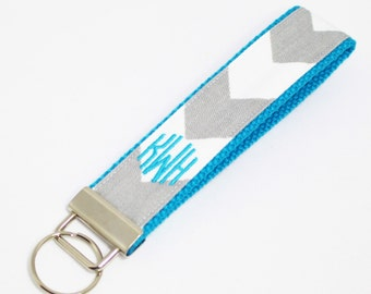 Monogrammed Chevron Wristlet Key Fob in Choice of Colors - Embroidered