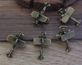30PCS  20mmx13mm  Air Plane Charm   - antique bronze   charm pendant  Jewelry Findings