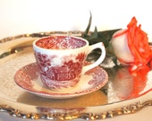 Vintage Demitasse Cup and Saucer Set Grindley Pink/Red English Country Inns English Transferware - Made in England