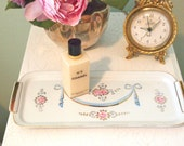 Vintage Tray Porcelain Dresser Tray 1950's Girly Mid Century Vanity Tray with Pink Roses Blue Ribbons and Gold Little Girls Room Home Decor