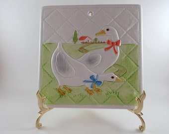 Vintage Ceramic Wall Decoration Country Kitchen Trivet Quilted Geese Counter Top Trivet Kitchen Decor Home Decor Wall Plaque Tile Trivet