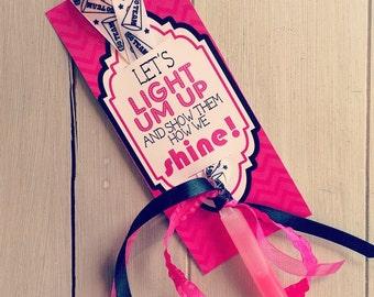 Good LuckTags, Light Up Bracelet, Dance Team Gifts, Glow Bracelet Favor Tags- PDF file Instant Download Light Um Up Spirit tags