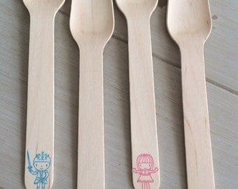Prince or Princess Magical Birthday Party or Baby Shower Stamped Wooden Ice Cream Spoons or Forks