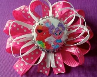 Elmo and Abby Cadabby Bottlecap Hair Bow