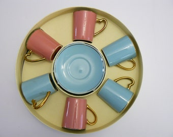 Espresso or Cappuccino Cups and Saucers by L. Dake & Zn Pink and Blue