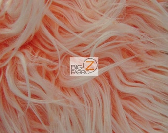 """Frosted Shaggy Mongolian Faux Fur Fabric - NEON ORANGE - Sold By The Yard 60"""" Width"""