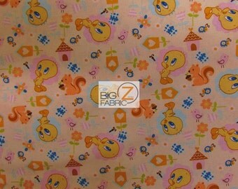 "Baby Looney Tunes Tweety By David Textiles 100% Cotton Fabric - 45"" Width Sold By The Yard (FH-1126)"