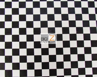 "Poly Cotton Printed Fabric Square Checkered - BLACK/WHITE - 58""/59"" Width Sold By The Yard (P123)"