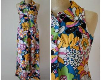 Floral Maxi Dress / Flower Power Dress / 1960s Mod Maxi Dress / Groovy Floral Frock / Tropical Maxi Dress / Maxi Easter Dress S/M