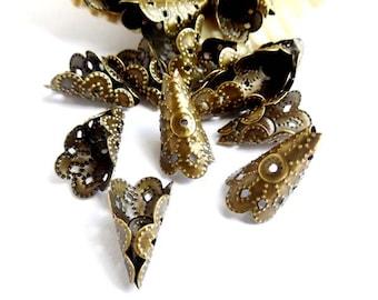 10 Antique Bronze Filigree Cone Bead Caps - 18-BC-7