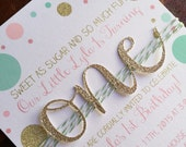 Pink, gold and mint green confetti dots with glitter ONE birthday invitation, first birthday invite, girly glam party