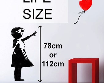 Banksy Balloon Girl stencil, HUGE Life size wall art stencil, Banksy replica painting stencil
