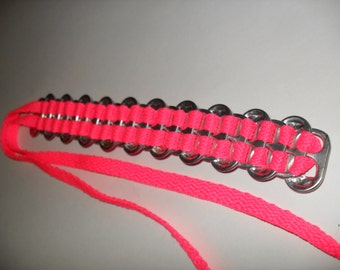 Upcycled Soda Can Tab & NEON PINK Shoelace Bracelet! Bright and Shiny!