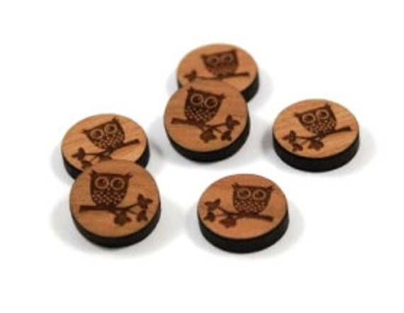 Laser Cut Supplies- 8 Pieces.Owl on Branch Charms - Laser Cut Wood -Earring Supplies- Little Laser Lab Sustainable Wood Products