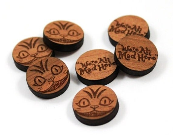 Laser Cut Supplies- 8 Pieces. Alice in Wonderland Charms - Laser Cut Wood -Brooch Supplies- Little Laser Lab Sustainable Wood Products