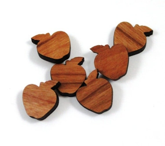 Laser Cut Supplies-8 Pieces.Apple Charms - Laser Cut Wood Apple -Earring Supplies- Little Laser Lab Sustainable Wood Products