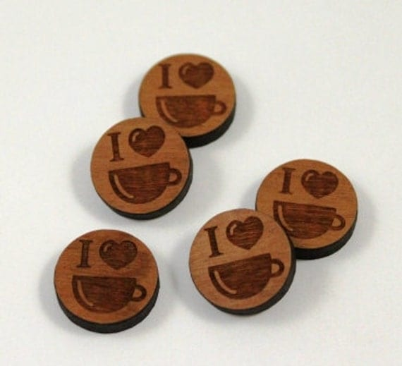 Laser Cut Supplies-8 Pieces.I Love Coffee Charms - Laser Cut Wood -Earring Supplies- Little Laser Lab Sustainable Wood Products