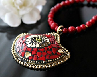 Statement Necklace, Nepalese Red Coral Necklace, Coral Gold Jewelry, Tribal jewelry, Tibetan  Jewelry