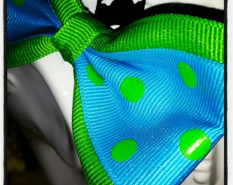 Bright Blue and Lime Polka Dot Hair Bow with Lime Peekaboo Trim