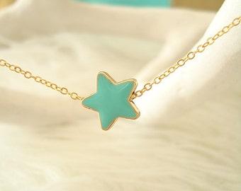 Blue Dainty Star Necklace, Star Necklace, Enamel Star Charm,Aqua Star Necklace,Dainty gold Necklace,Bridesmaids Necklace,Small Star Necklace