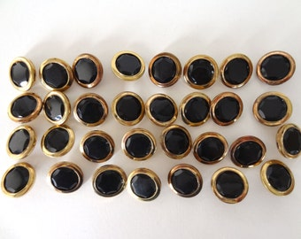 Lot of Brass and Faceted Black Buttons - 31 Total