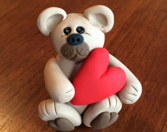Polymer Clay Valentine's Day Teddy Bear