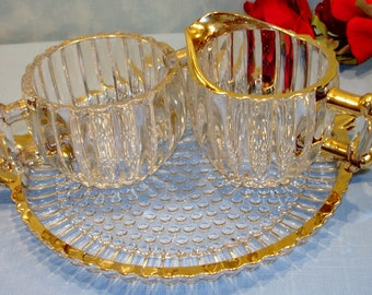 National by Jeannette Crystal Creamer, Sugar and Tray, gold edged