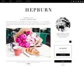 """Blogger Template Premade Blog Design - """"Hepburn"""" Blogger Theme Black and White"""
