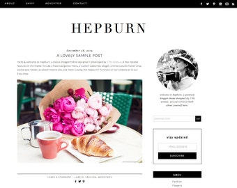 "Blogger Template Premade Blog Design - ""Hepburn"" Blogger Theme Black and White"