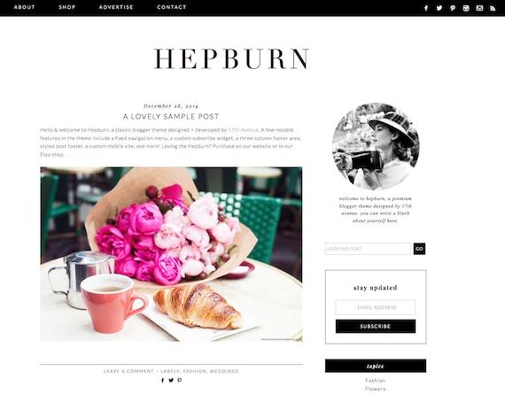 Blogger Template Premade Blog Design Hepburn