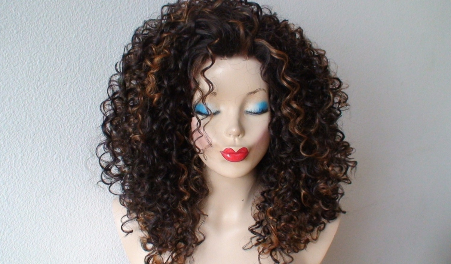 Lace front wig. Brown hair with auburn highlight deep curly