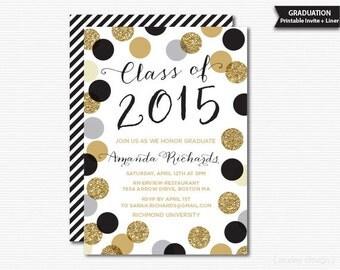 printable graduation invitation black gold polka dots