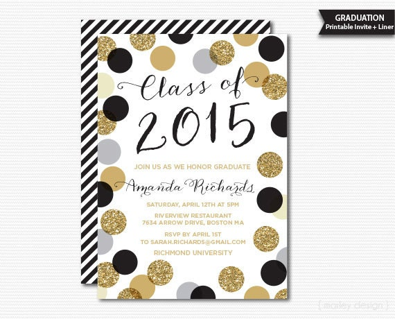 Printable Graduation Invitation Black on oscar invitations free printable