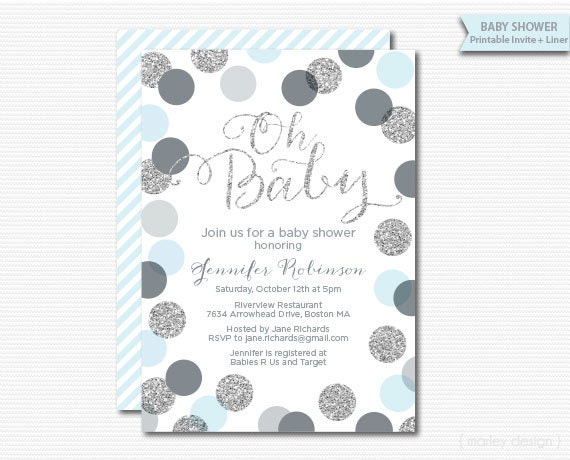 Baby Shower Invitation Blue Printable Shower Invitation Baby Boy
