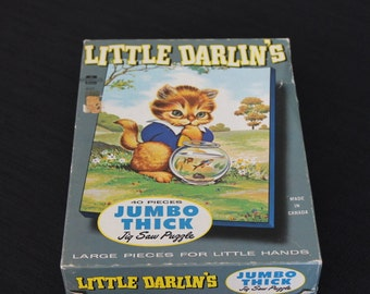 Vintage Jumbo Thick Little Darlins Puzzle Cat Fishbowl