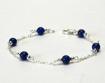 Genuine Lapis and Sterling Silver Bracelet -  Dainty Gemstone Bracelet - Royal Blue Chain and Link Bracelet