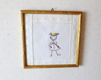 Nursery Decor Princess Textile Art Embroidered Wall Decor