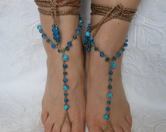 Crochet Barefoot Sandals Beach Wedding  Yoga Shoes Foot Jewelry Blue Turquoise